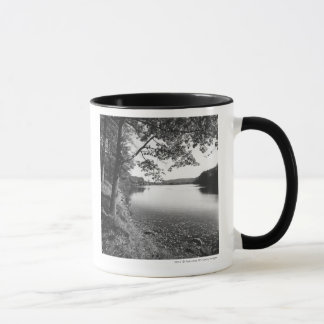 Trees by river B&W Mug