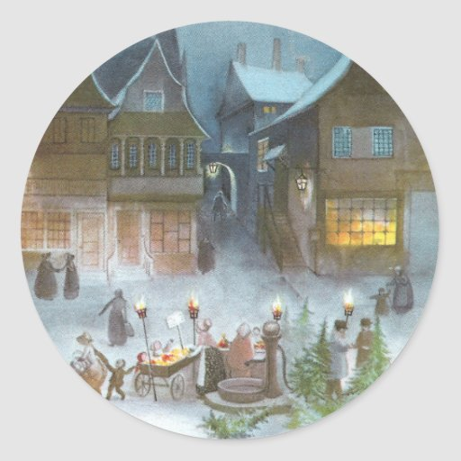 Trees for Sale in Town Square Vintage Christmas Round Sticker