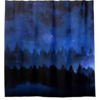 Trees. Forest. Night. Nature Scene Shower Curtain