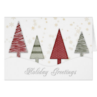 Trees Gold Snowflakes Christmas Greeting Cards
