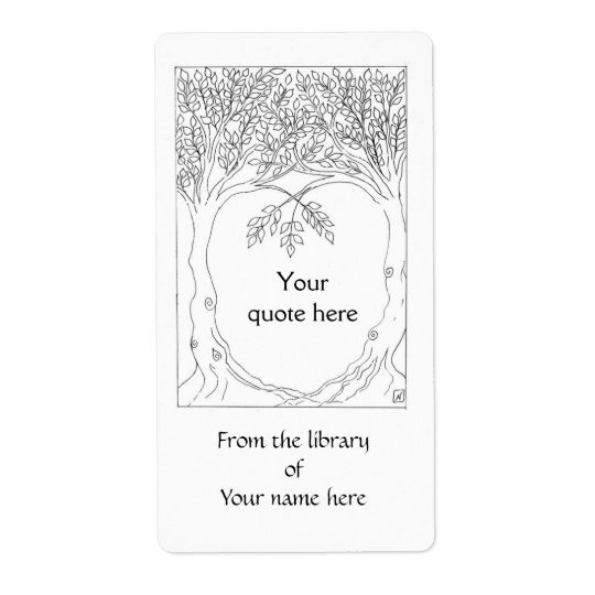 Trees Growing Together Book Plate Shipping Label