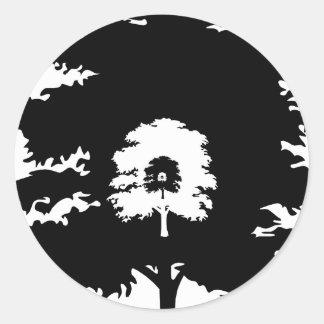 Trees in a line round sticker