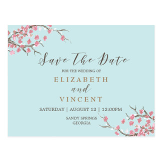 Trees in Bloom Save the Date Card Postcard