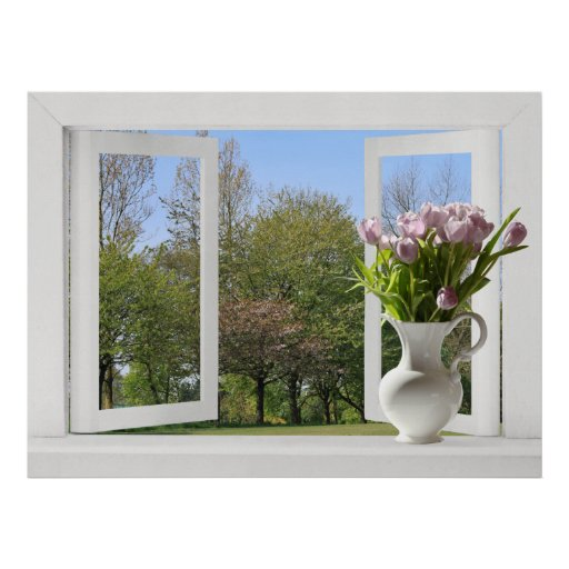 Trees in Springtime - Open Window View with Tulips Poster