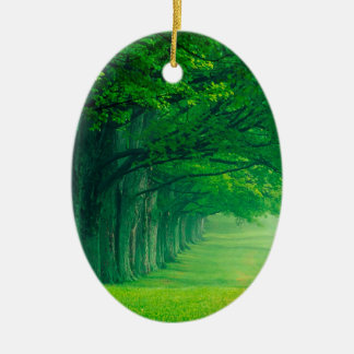 Trees Lush Summer Louisville Kentucky Ceramic Oval Ornament