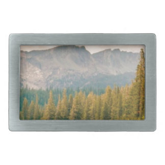 trees mountain and stream belt buckle