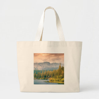 trees mountain and stream large tote bag