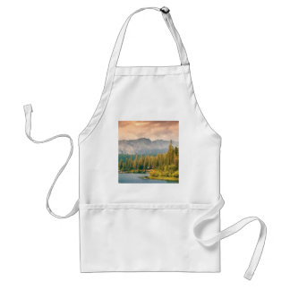 trees mountain and stream standard apron