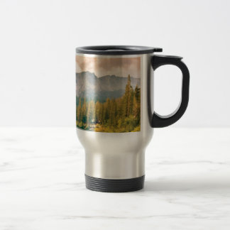 trees mountain and stream travel mug