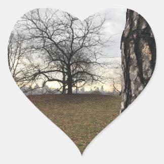 Trees New York NYC Sunrise Central Park Skyline Heart Sticker