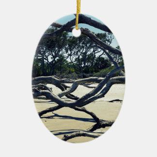 Trees on Jekyll Ceramic Oval Ornament