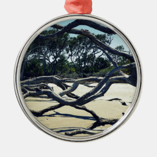 Trees on Jekyll Silver-Colored Round Ornament