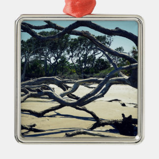 Trees on Jekyll Silver-Colored Square Ornament