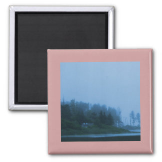 Trees on the lake through the morning fog square magnet