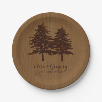 Trees on wood brown woodland wedding paper plate