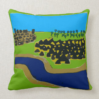 Trees, River, Mountains, Town Abstract Throw Pillow