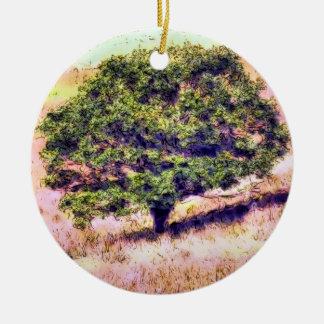 TREES ROUND CERAMIC ORNAMENT