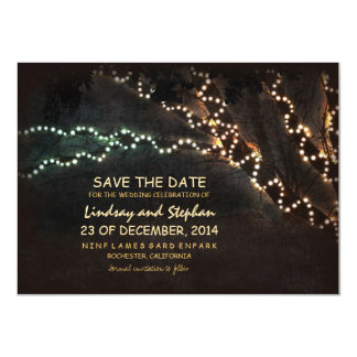 """Trees & string of lights rustic save the date card 4.5"""" x 6.25"""" invitation card"""