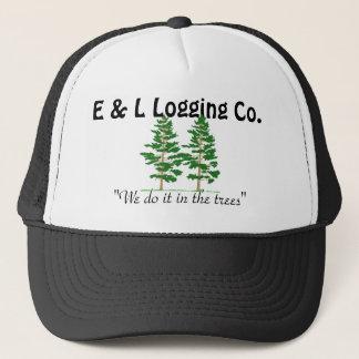 """treess, E & L Logging Co., """"We do it in the trees"""" Trucker Hat"""