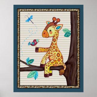 Treetop Jungle Buddies. Giraffe Nursery Art Poster
