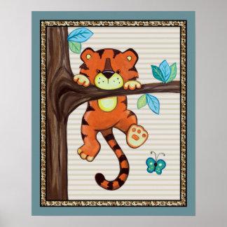 Treetop Jungle Buddies. Tiger Nursery Art Poster