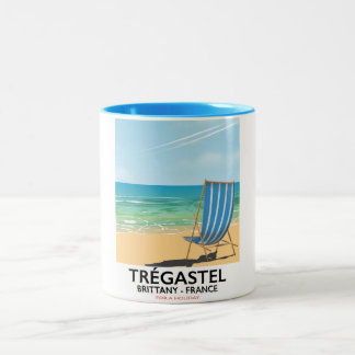 Trégastel, Brittany France beach travel poster Two-Tone Coffee Mug