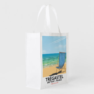 Trégastel, Brittany France beach vacation poster Grocery Bag
