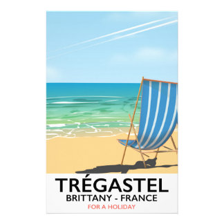 Trégastel, Brittany France beach vacation poster Stationery