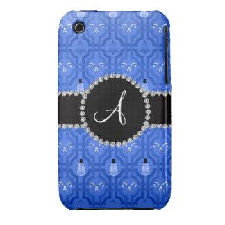 Treillis bleu de bonhomme de neige de monogramme coques Case-Mate iPhone 3