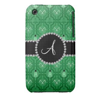 Treillis vert de bonhomme de neige de monogramme coques iPhone 3 Case-Mate
