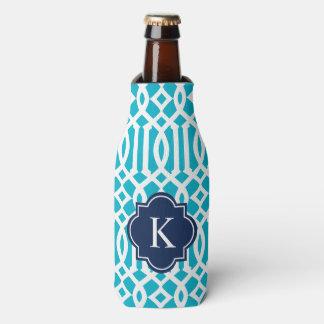 Trellis in Navy & Aqua | Bottle Cooler
