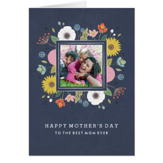 Trellis Mother's Day Greeting Card - Navy