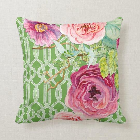 Trellis Pattern Secret Garden Peony n Rose Floral Throw Pillow