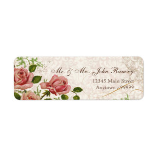 Trellis Rose Vintage Card Mailing Address Label