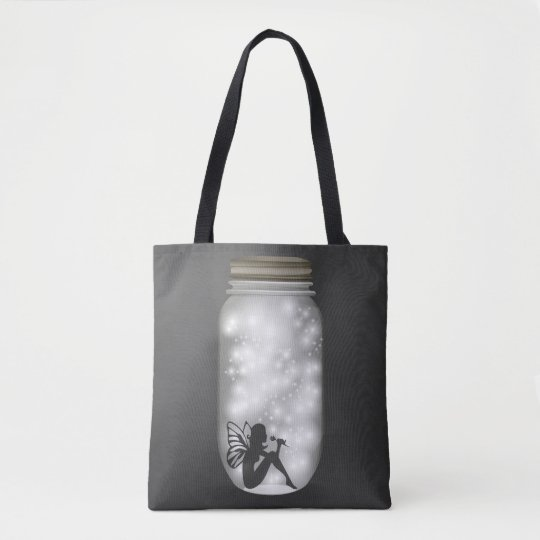 Trend-Setters Fairy Lights Jar Grey White Tote Bag