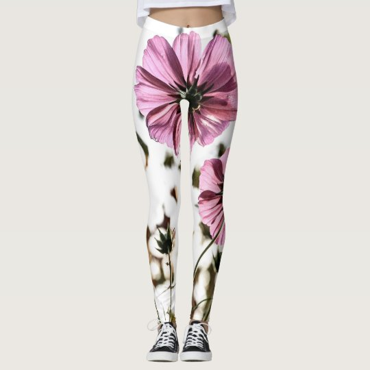 Trend-Setters Pink and White Floral Style Leggings