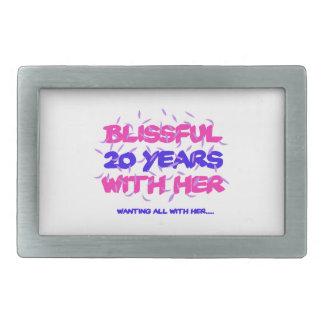 Trending 20TH marriage anniversary designs Rectangular Belt Buckle