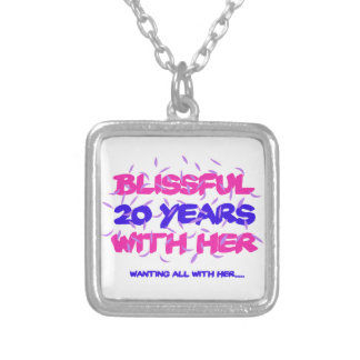 Trending 20TH marriage anniversary designs Silver Plated Necklace