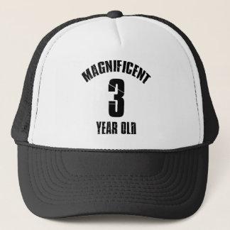 TRENDING 3 YEAR OLD BIRTHDAY DESIGNS TRUCKER HAT