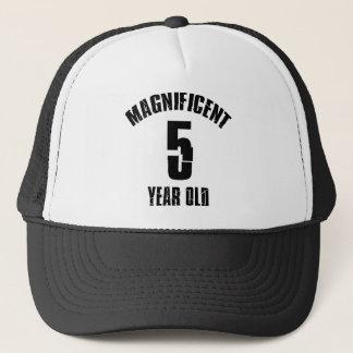 TRENDING 5 YEAR OLD BIRTHDAY DESIGNS TRUCKER HAT