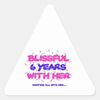 Trending 6th marriage anniversary designs triangle sticker