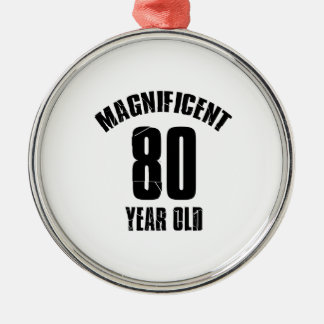 TRENDING 80 YEAR OLD BIRTHDAY DESIGNS Silver-Colored ROUND ORNAMENT