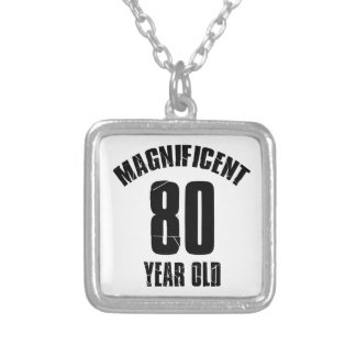 TRENDING 80 YEAR OLD BIRTHDAY DESIGNS SILVER PLATED NECKLACE
