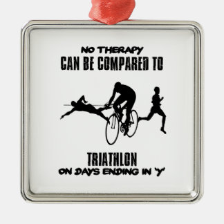 Trending and awesome TRIATHLON designs Silver-Colored Square Ornament