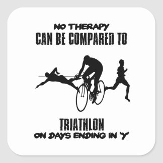 Trending and awesome TRIATHLON designs Square Sticker