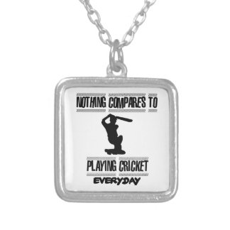 Trending cool Cricket designs Silver Plated Necklace