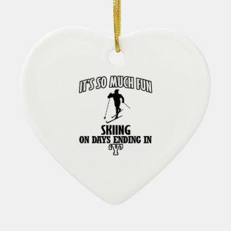 Trending cool skiing designs ceramic heart ornament