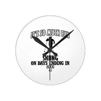 Trending cool skiing designs round clock