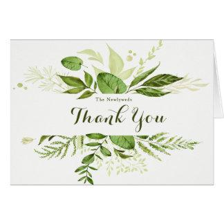 Trending Green Wreath & Laurels Wedding Thank You Card