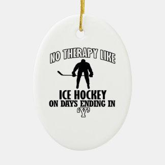 Trending Ice Hockey designs Ceramic Oval Ornament